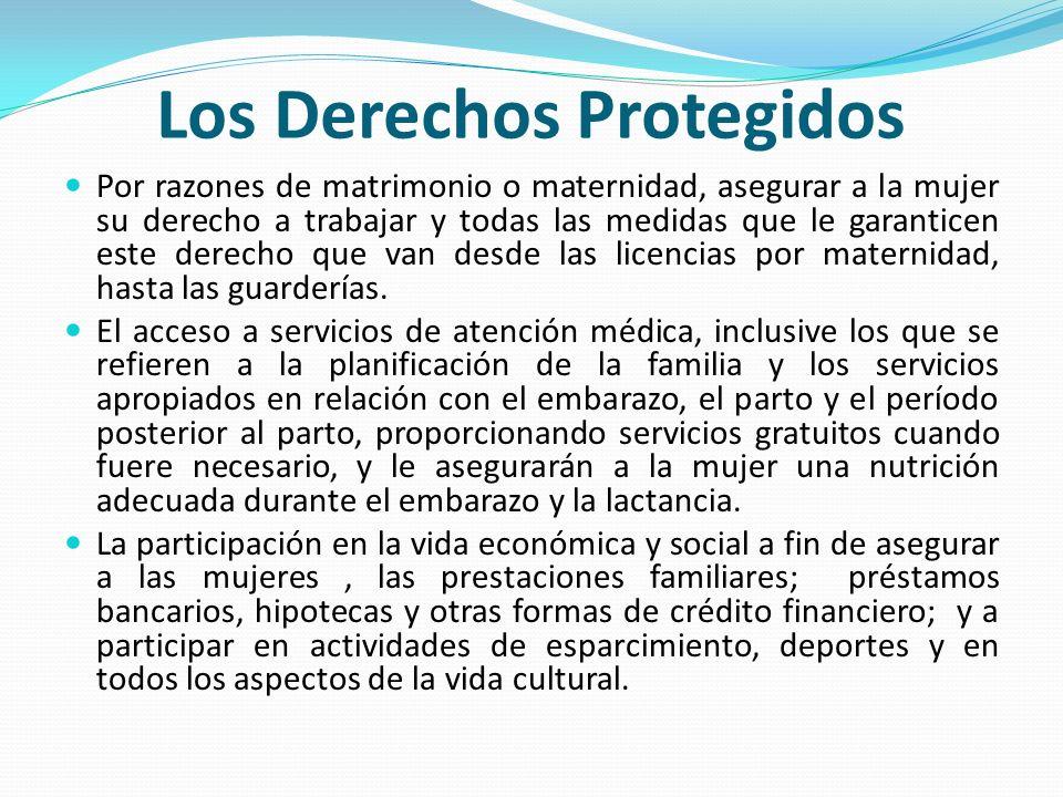 Por razones de matrimonio o maternidad, asegurar a la mujer su derecho a trabajar y todas las medidas que le garanticen este derecho que van desde las