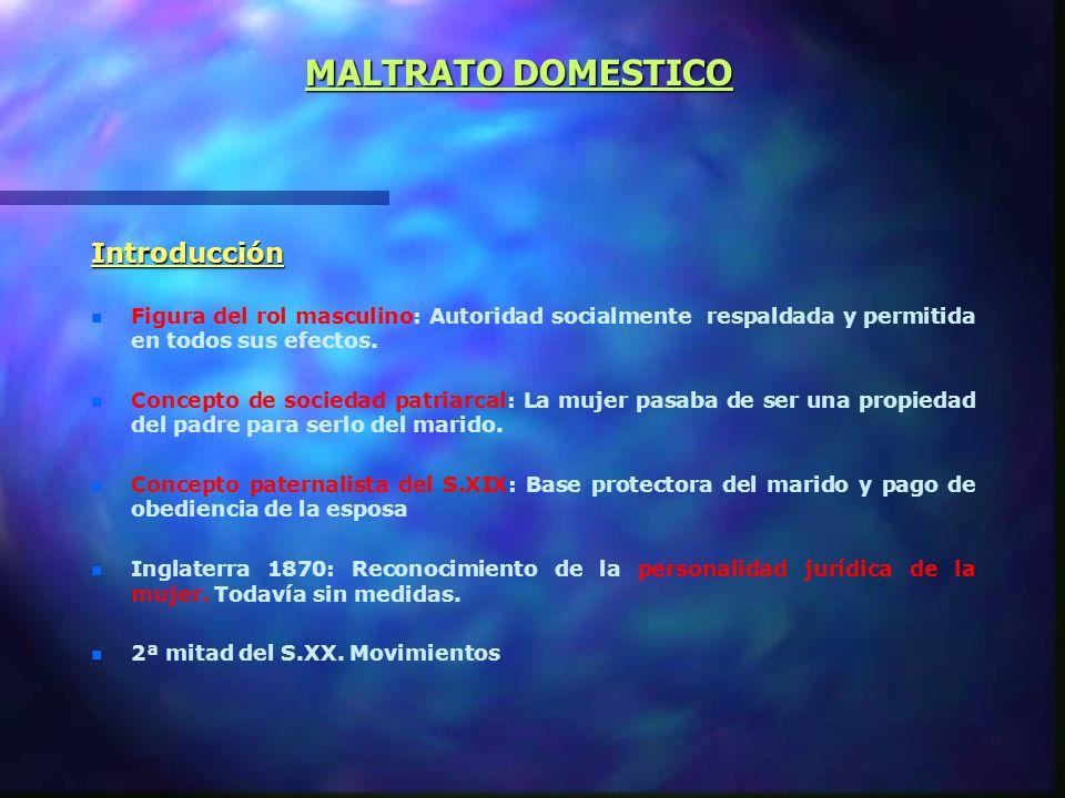 MALTRATO DOMESTICO Introducción n n Figura del rol masculino: Autoridad socialmente respaldada y permitida en todos sus efectos.