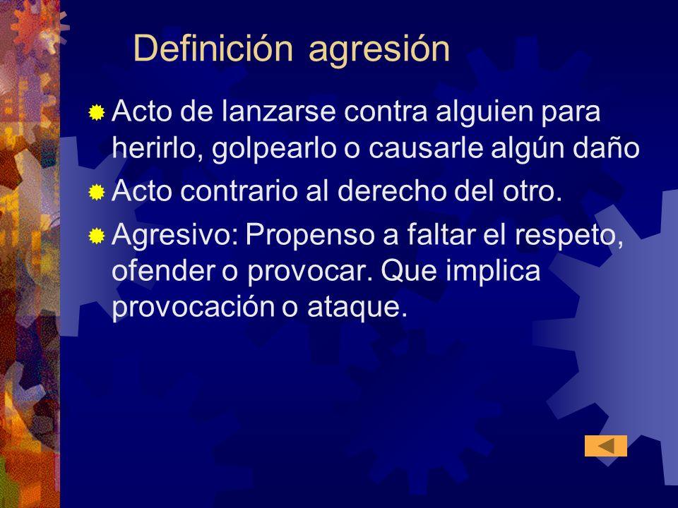 Definición agresión Acto de lanzarse contra alguien para herirlo, golpearlo o causarle algún daño Acto contrario al derecho del otro. Agresivo: Propen