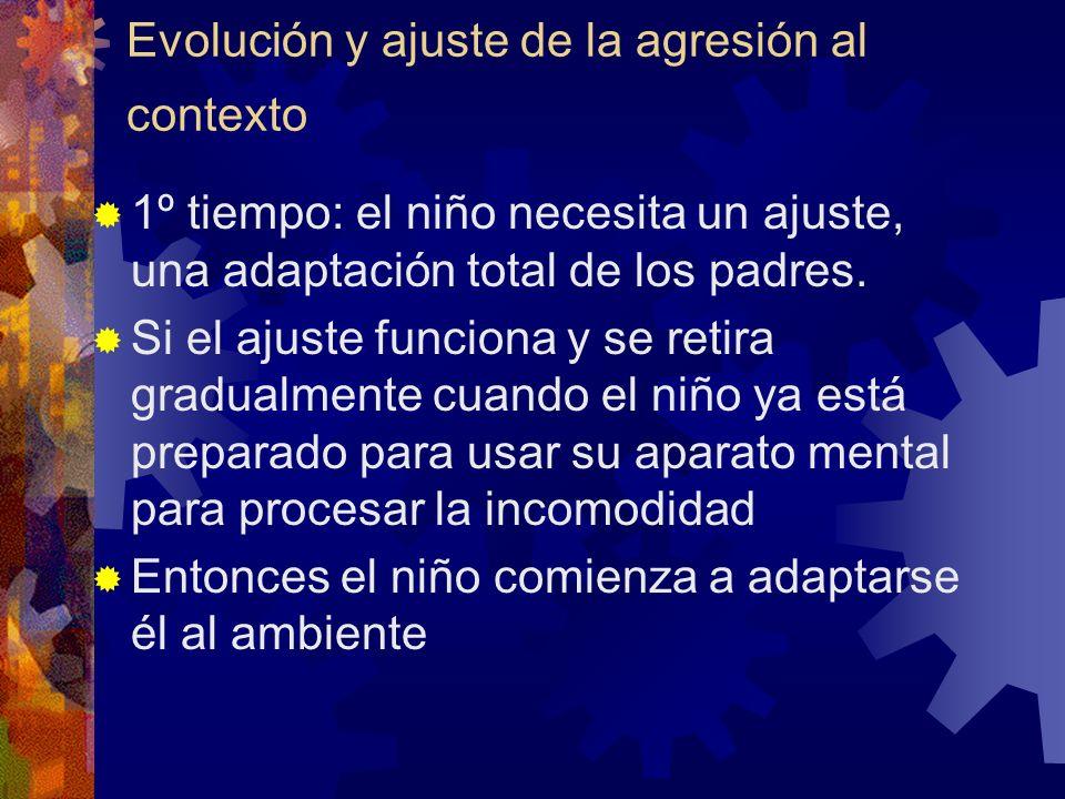 Evolución y ajuste de la agresión al contexto 1º tiempo: el niño necesita un ajuste, una adaptación total de los padres. Si el ajuste funciona y se re