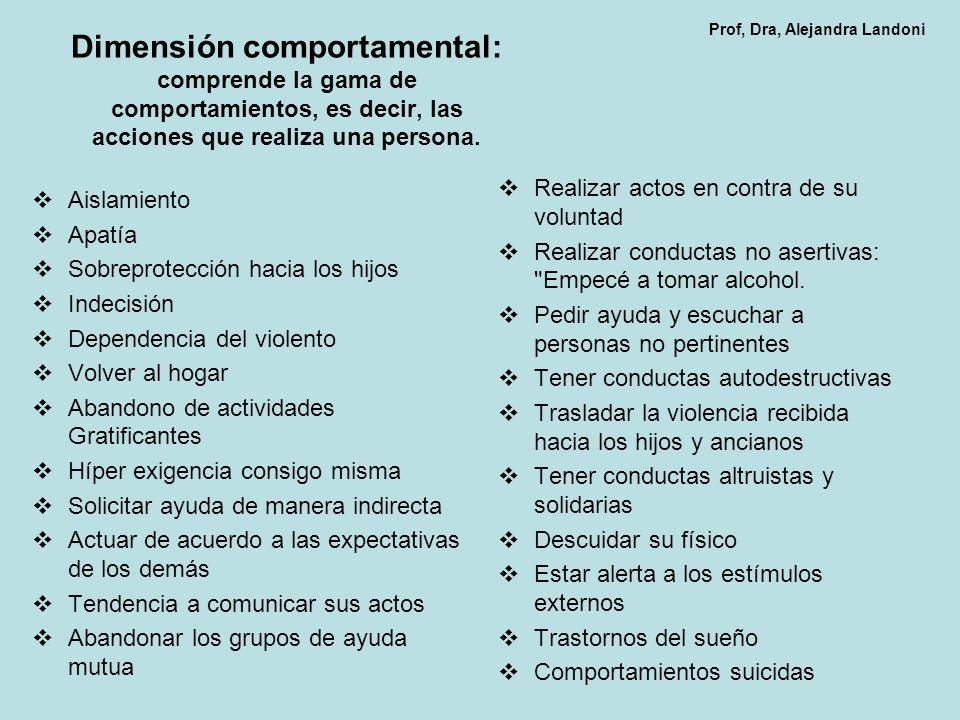 Dimensión comportamental: comprende la gama de comportamientos, es decir, las acciones que realiza una persona. Aislamiento Apatía Sobreprotección hac