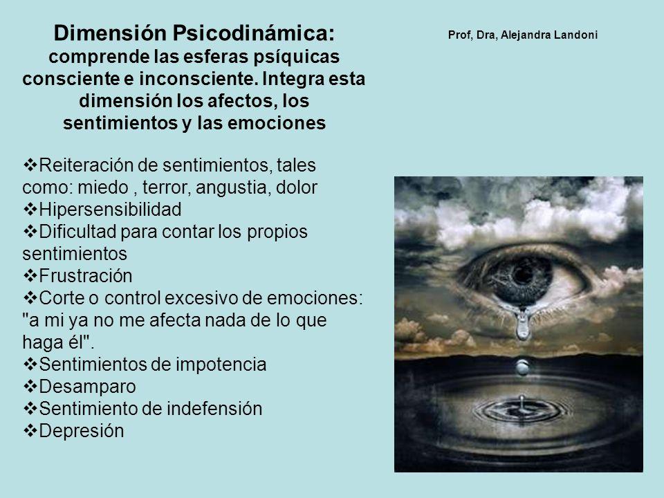 Dimensión Psicodinámica: comprende las esferas psíquicas consciente e inconsciente.