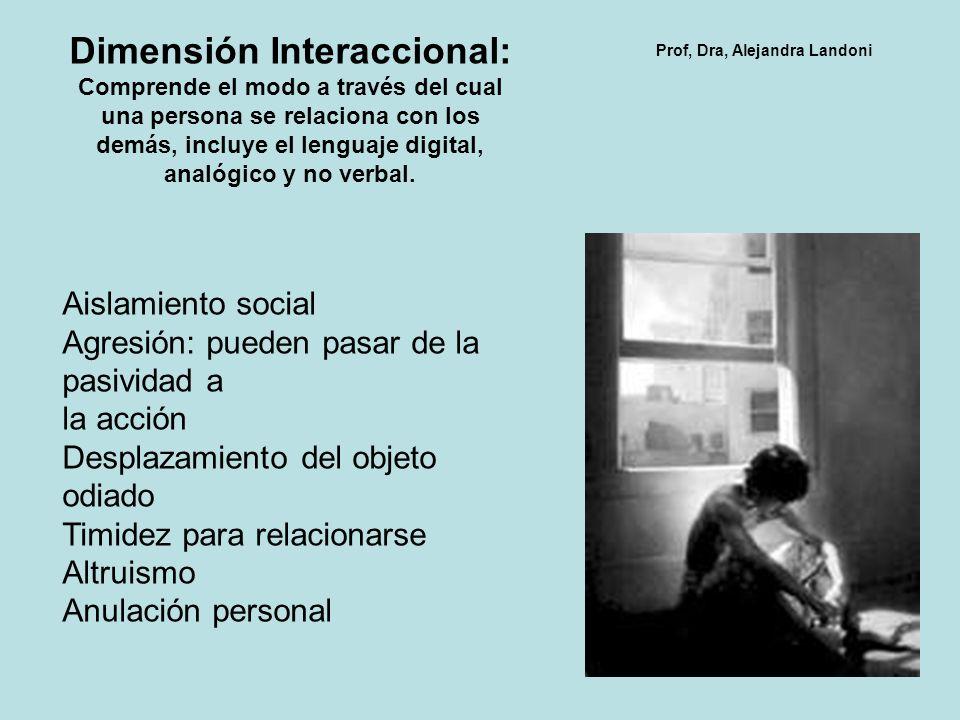Dimensión Interaccional: Comprende el modo a través del cual una persona se relaciona con los demás, incluye el lenguaje digital, analógico y no verba