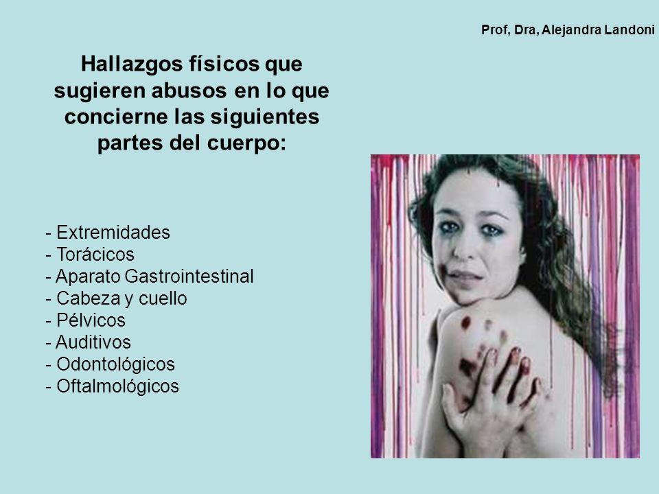 Hallazgos físicos que sugieren abusos en lo que concierne las siguientes partes del cuerpo: - Extremidades - Torácicos - Aparato Gastrointestinal - Ca