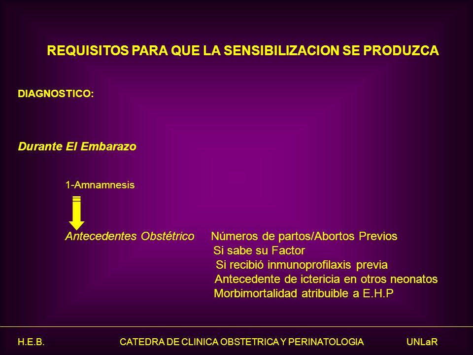 H.E.B. CATEDRA DE CLINICA OBSTETRICA Y PERINATOLOGIA UNLaR REQUISITOS PARA QUE LA SENSIBILIZACION SE PRODUZCA DIAGNOSTICO: Durante El Embarazo 1-Amnam