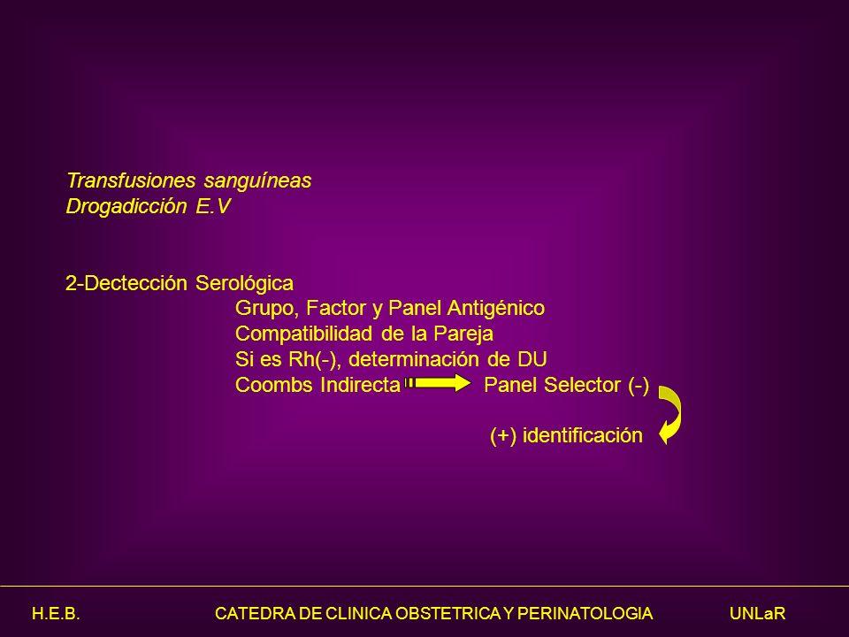 H.E.B. CATEDRA DE CLINICA OBSTETRICA Y PERINATOLOGIA UNLaR Transfusiones sanguíneas Drogadicción E.V 2-Dectección Serológica Grupo, Factor y Panel Ant