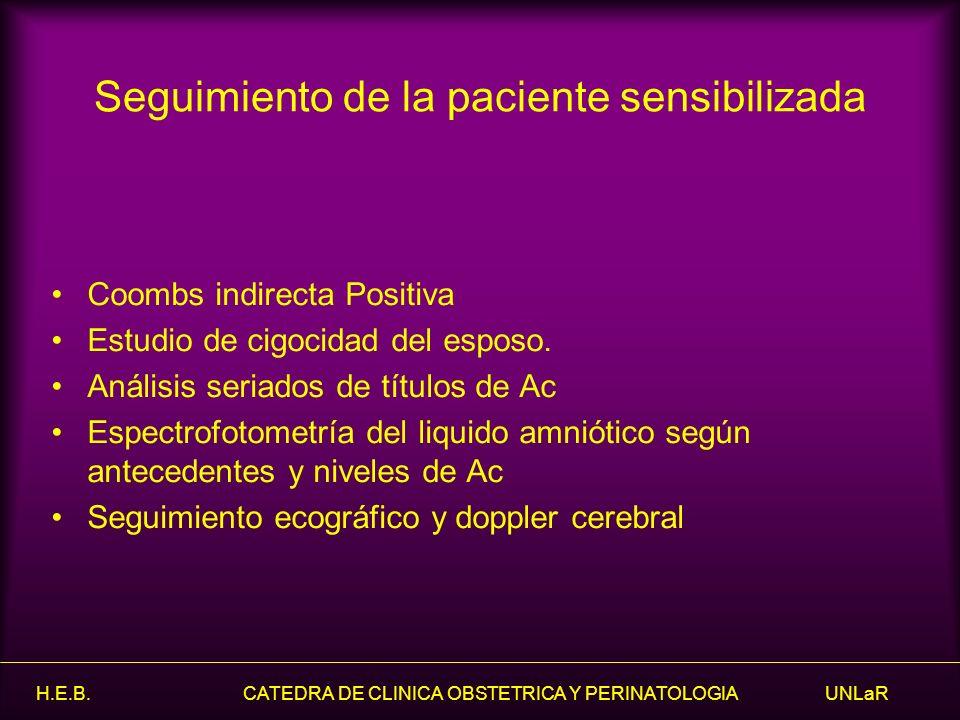 H.E.B. CATEDRA DE CLINICA OBSTETRICA Y PERINATOLOGIA UNLaR Coombs indirecta Positiva Estudio de cigocidad del esposo. Análisis seriados de títulos de