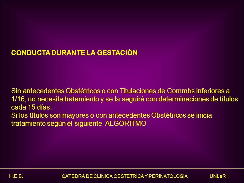 H.E.B. CATEDRA DE CLINICA OBSTETRICA Y PERINATOLOGIA UNLaR CONDUCTA DURANTE LA GESTACIÓN Sin antecedentes Obstétricos o con Titulaciones de Commbs inf