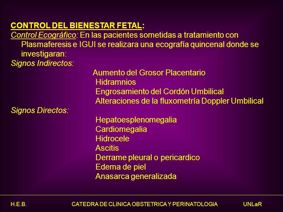 H.E.B. CATEDRA DE CLINICA OBSTETRICA Y PERINATOLOGIA UNLaR CONTROL DEL BIENESTAR FETAL: Control Ecográfico: En las pacientes sometidas a tratamiento c