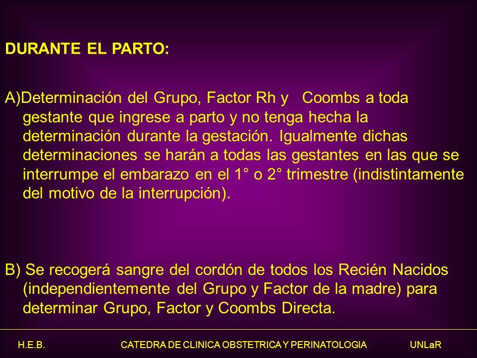 H.E.B. CATEDRA DE CLINICA OBSTETRICA Y PERINATOLOGIA UNLaR A)Determinación del Grupo, Factor Rh y Coombs a toda gestante que ingrese a parto y no teng