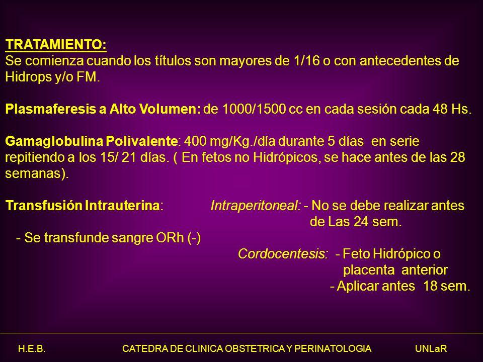H.E.B. CATEDRA DE CLINICA OBSTETRICA Y PERINATOLOGIA UNLaR TRATAMIENTO: Se comienza cuando los títulos son mayores de 1/16 o con antecedentes de Hidro