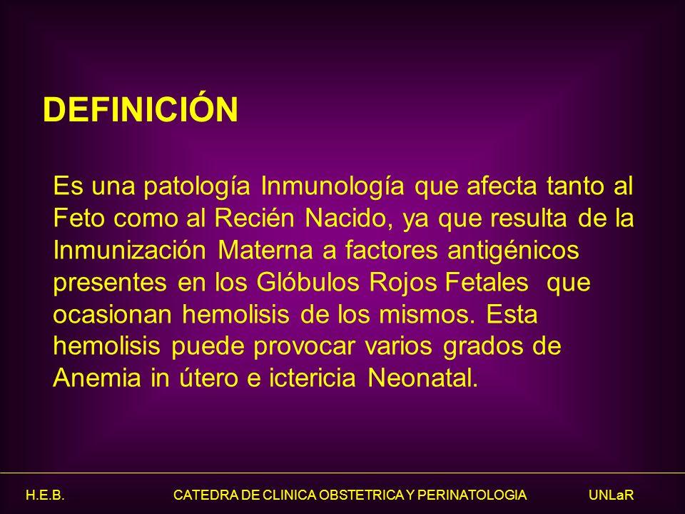 H.E.B. CATEDRA DE CLINICA OBSTETRICA Y PERINATOLOGIA UNLaR Es una patología Inmunología que afecta tanto al Feto como al Recién Nacido, ya que resulta