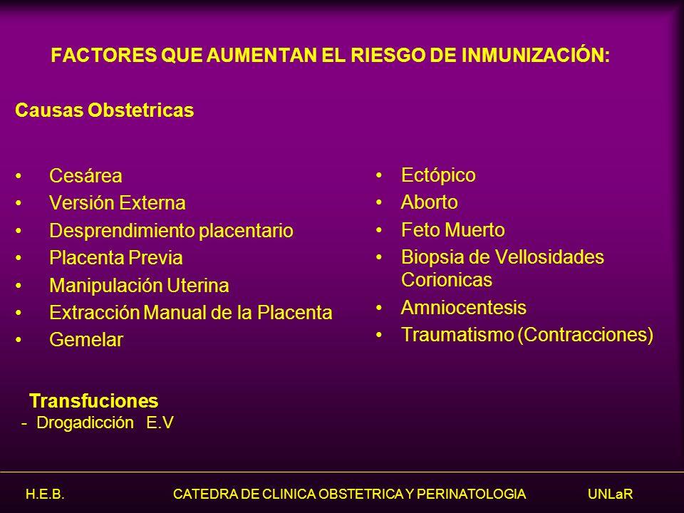FACTORES QUE AUMENTAN EL RIESGO DE INMUNIZACIÓN: Causas Obstetricas Cesárea Versión Externa Desprendimiento placentario Placenta Previa Manipulación U