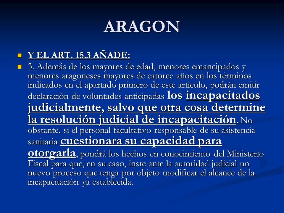 ARAGON Y EL ART. 15.3 AÑADE: Y EL ART. 15.3 AÑADE: 3. Además de los mayores de edad, menores emancipados y menores aragoneses mayores de catorce años