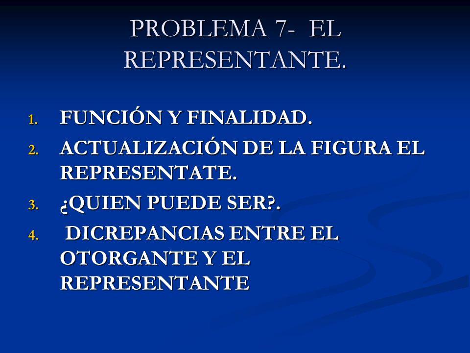 PROBLEMA 7- EL REPRESENTANTE. 1. FUNCIÓN Y FINALIDAD. 2. ACTUALIZACIÓN DE LA FIGURA EL REPRESENTATE. 3. ¿QUIEN PUEDE SER?. 4. DICREPANCIAS ENTRE EL OT