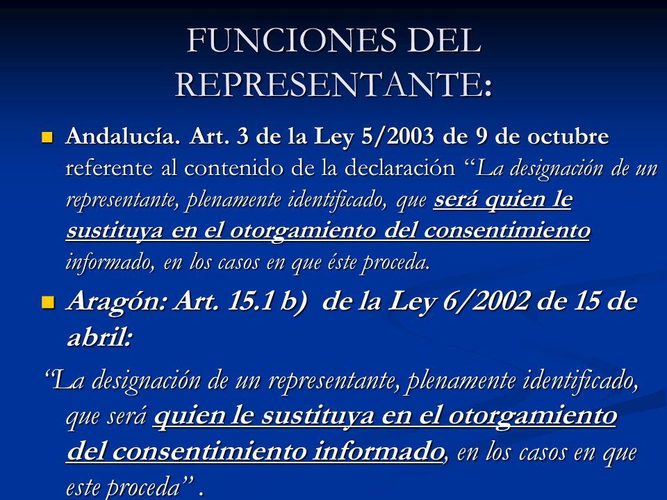 FUNCIONES DEL REPRESENTANTE: Andalucía. Art. 3 de la Ley 5/2003 de 9 de octubre referente al contenido de la declaración La designación de un represen