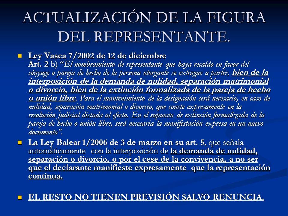 ACTUALIZACIÓN DE LA FIGURA DEL REPRESENTANTE. Ley Vasca 7/2002 de 12 de diciembre Art. 2 b) El nombramiento de representante que haya recaído en favor