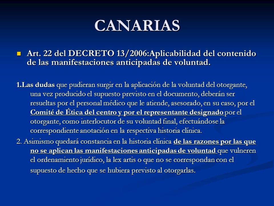 CANARIAS Art. 22 del DECRETO 13/2006:Aplicabilidad del contenido de las manifestaciones anticipadas de voluntad. Art. 22 del DECRETO 13/2006:Aplicabil