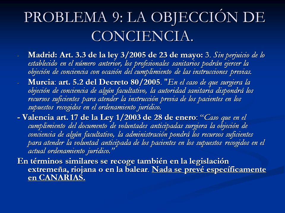 PROBLEMA 9: LA OBJECCIÓN DE CONCIENCIA. PROBLEMA 9: LA OBJECCIÓN DE CONCIENCIA. - Madrid: Art. 3.3 de la ley 3/2005 de 23 de mayo: 3. Sin perjuicio de
