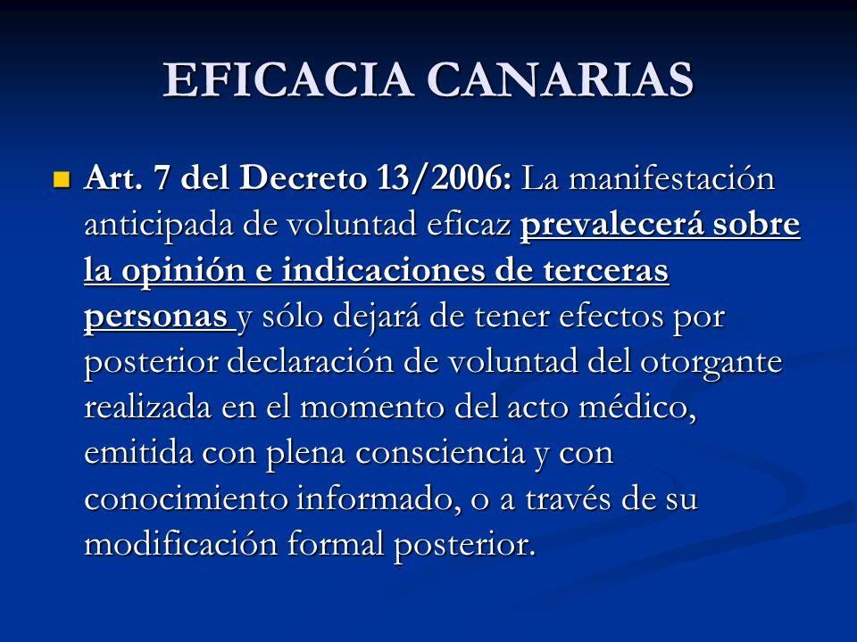EFICACIA CANARIAS Art. 7 del Decreto 13/2006: La manifestación anticipada de voluntad eficaz prevalecerá sobre la opinión e indicaciones de terceras p