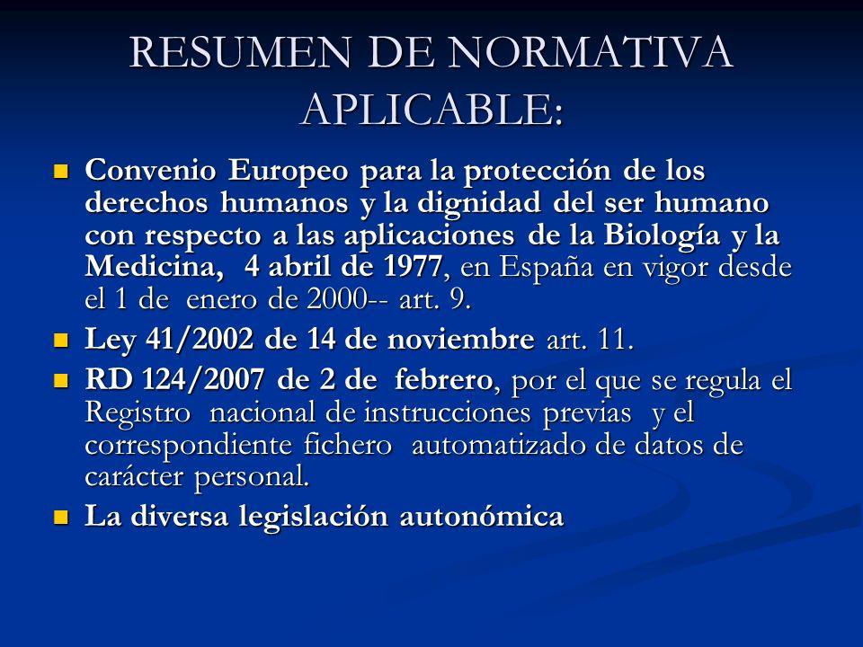 RESUMEN DE NORMATIVA APLICABLE: Convenio Europeo para la protección de los derechos humanos y la dignidad del ser humano con respecto a las aplicacion