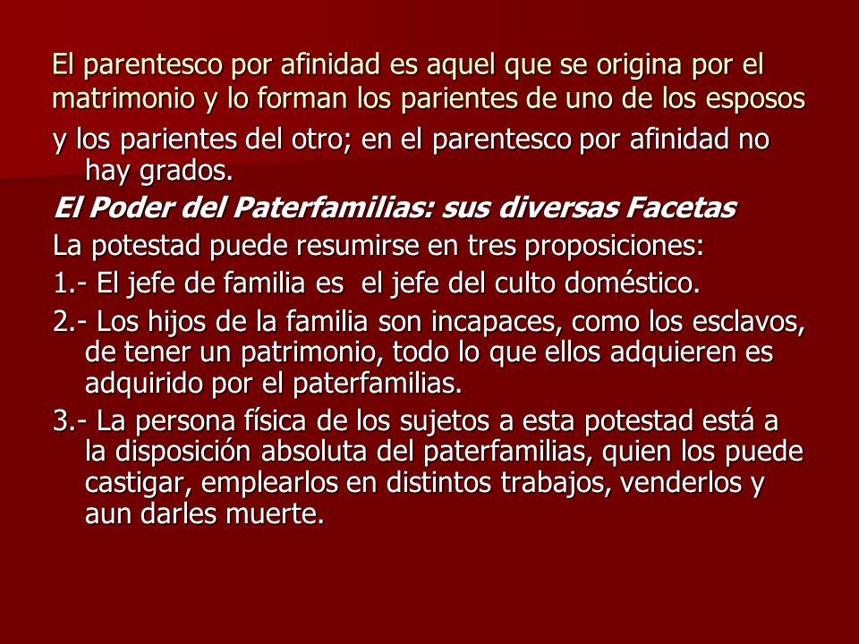 El parentesco por afinidad es aquel que se origina por el matrimonio y lo forman los parientes de uno de los esposos y los parientes del otro; en el p