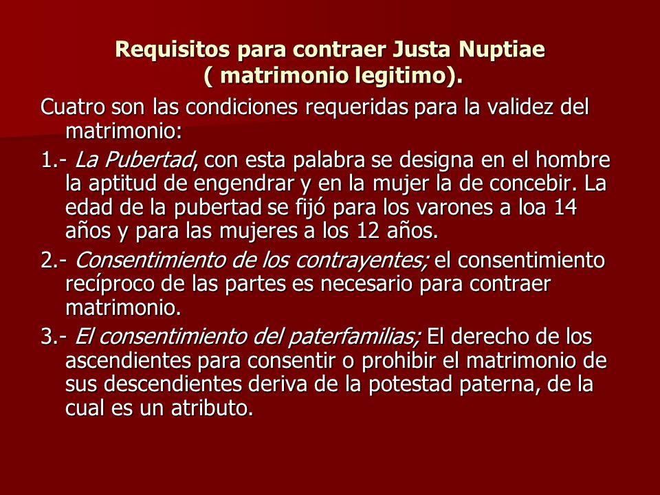 Requisitos para contraer Justa Nuptiae ( matrimonio legitimo). Cuatro son las condiciones requeridas para la validez del matrimonio: 1.- La Pubertad,