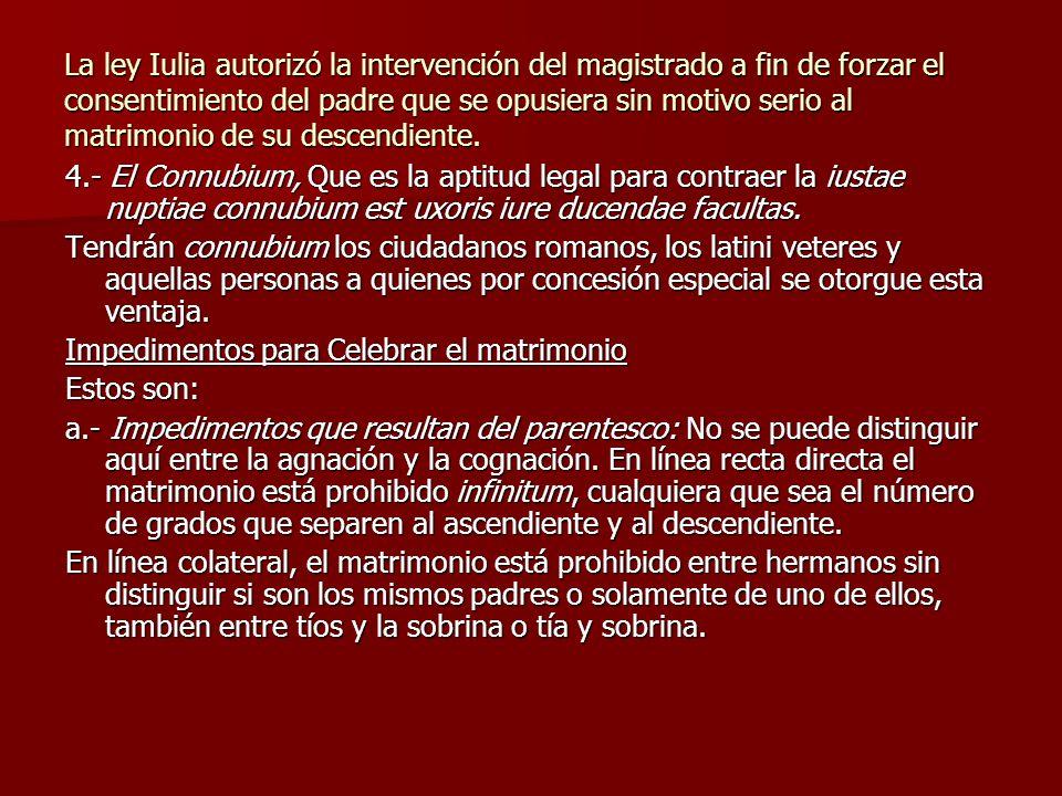La ley Iulia autorizó la intervención del magistrado a fin de forzar el consentimiento del padre que se opusiera sin motivo serio al matrimonio de su