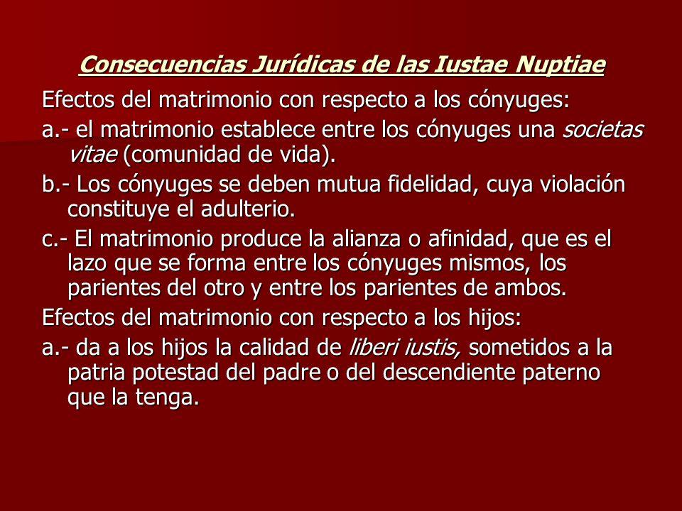 Consecuencias Jurídicas de las Iustae Nuptiae Efectos del matrimonio con respecto a los cónyuges: a.- el matrimonio establece entre los cónyuges una s