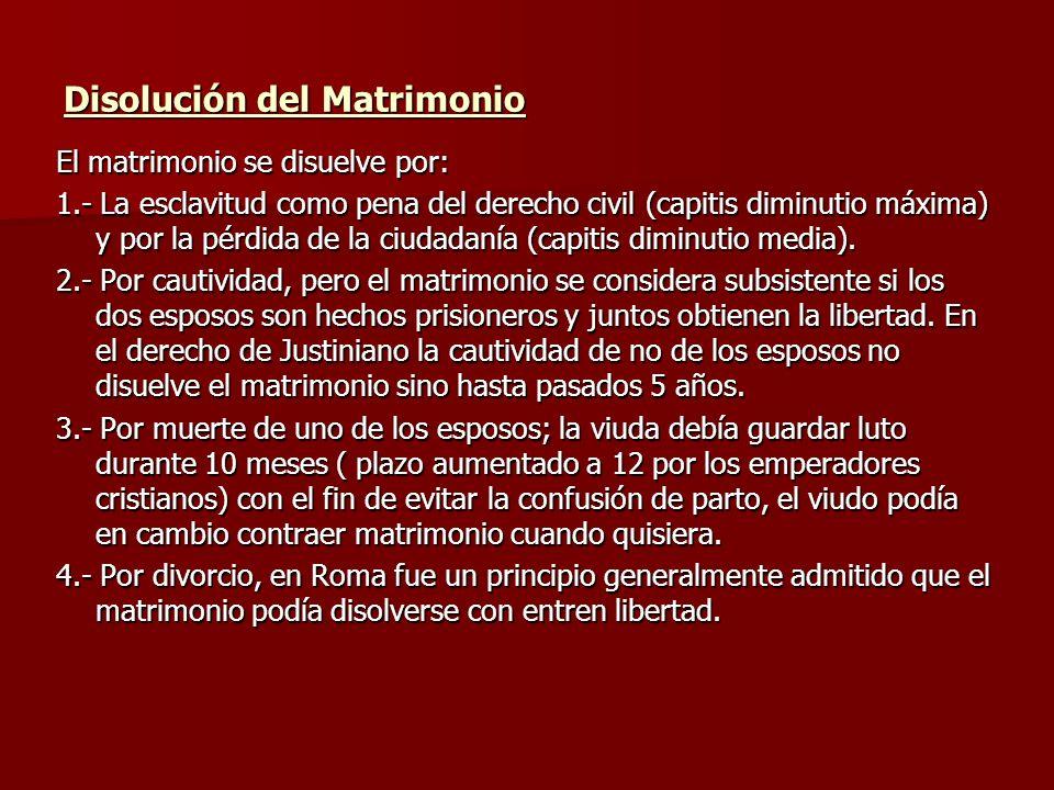Disolución del Matrimonio El matrimonio se disuelve por: 1.- La esclavitud como pena del derecho civil (capitis diminutio máxima) y por la pérdida de