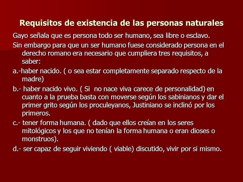 Requisitos de existencia de las personas naturales Gayo señala que es persona todo ser humano, sea libre o esclavo. Sin embargo para que un ser humano