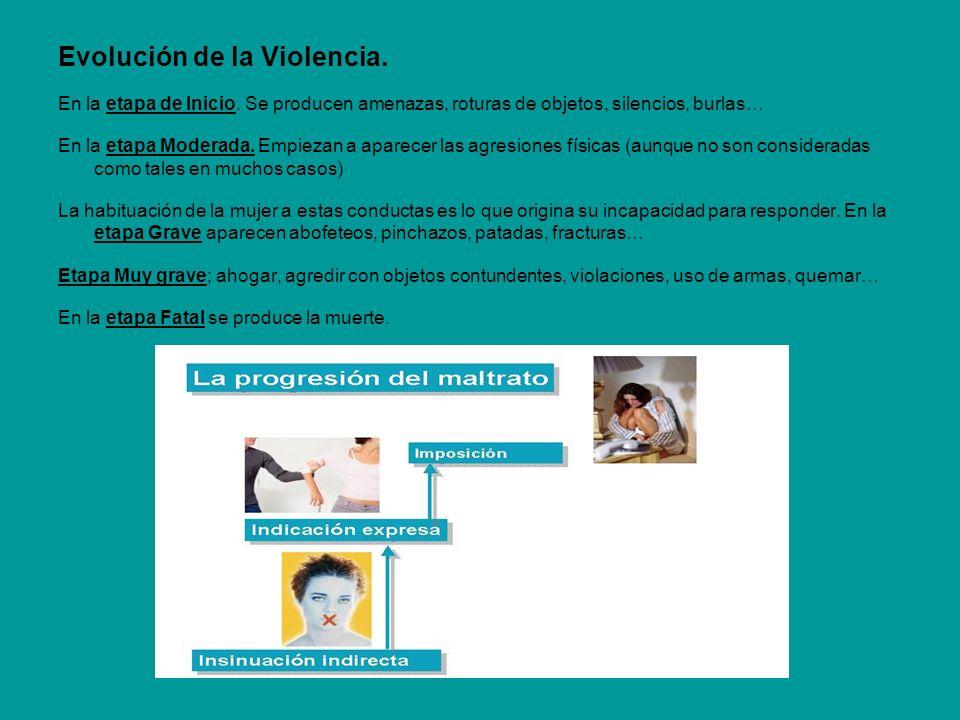 Evolución de la Violencia. En la etapa de Inicio. Se producen amenazas, roturas de objetos, silencios, burlas… En la etapa Moderada. Empiezan a aparec