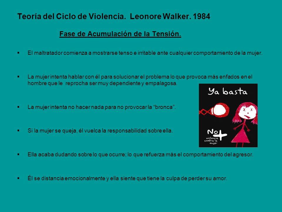 Teoría del Ciclo de Violencia. Leonore Walker. 1984 Fase de Acumulación de la Tensión. El maltratador comienza a mostrarse tenso e irritable ante cual