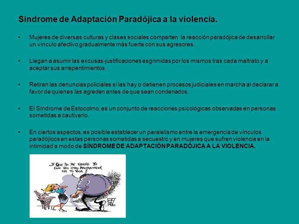 Síndrome de Adaptación Paradójica a la violencia. Mujeres de diversas culturas y clases sociales comparten la reacción paradójica de desarrollar un ví
