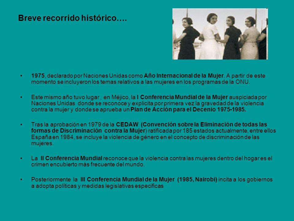 Breve recorrido histórico…. 1975, declarado por Naciones Unidas como Año Internacional de la Mujer. A partir de este momento se incluyeron los temas r