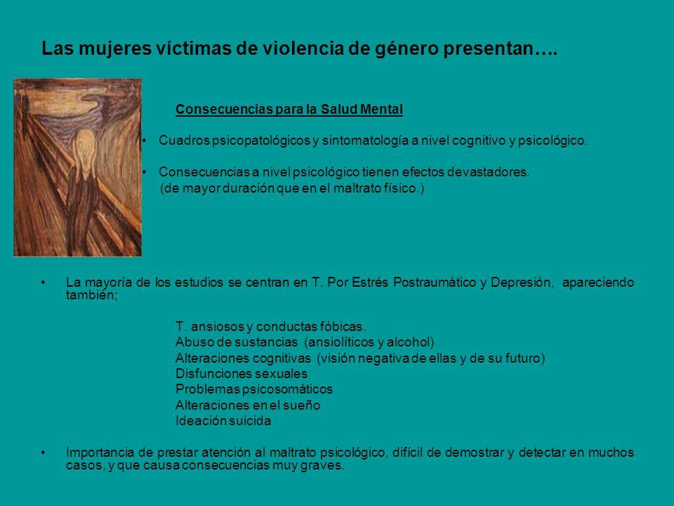 Las mujeres víctimas de violencia de género presentan…. Consecuencias para la Salud Mental Cuadros psicopatológicos y sintomatología a nivel cognitivo