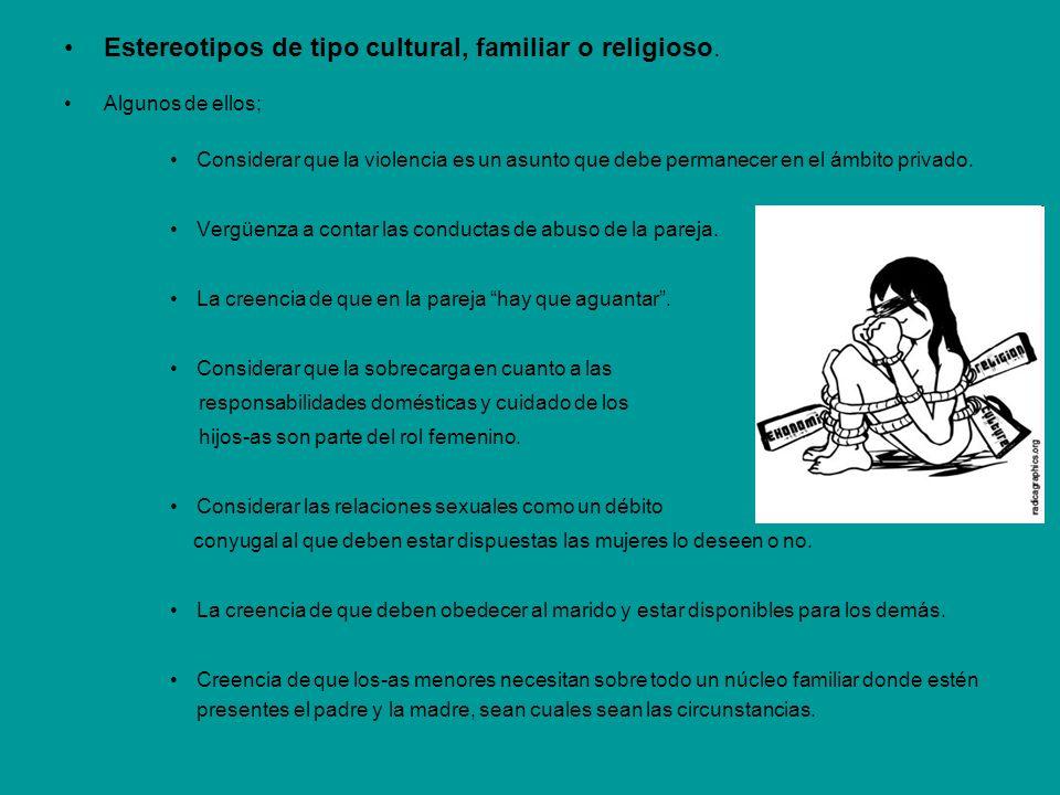 Estereotipos de tipo cultural, familiar o religioso. Algunos de ellos; Considerar que la violencia es un asunto que debe permanecer en el ámbito priva