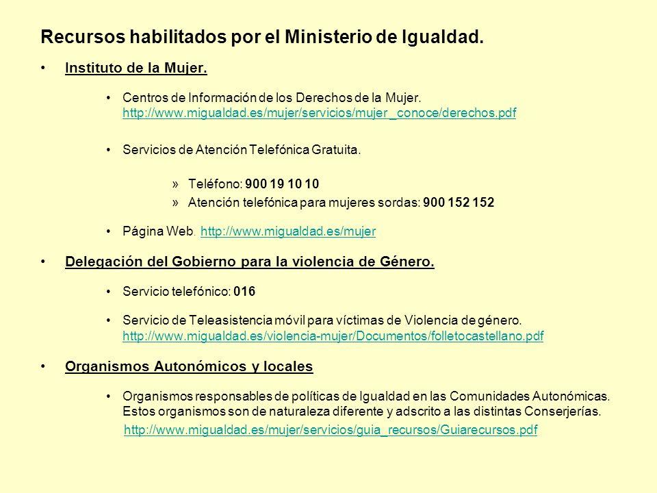 Recursos habilitados por el Ministerio de Igualdad. Instituto de la Mujer. Centros de Información de los Derechos de la Mujer. http://www.migualdad.es