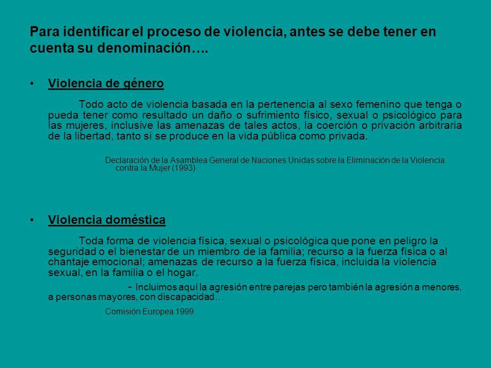 Para identificar el proceso de violencia, antes se debe tener en cuenta su denominación…. Violencia de género Todo acto de violencia basada en la pert