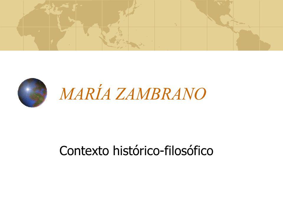 MARÍA ZAMBRANO Contexto histórico-filosófico