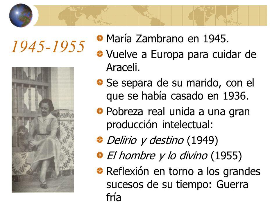1945-1955 María Zambrano en 1945.Vuelve a Europa para cuidar de Araceli.