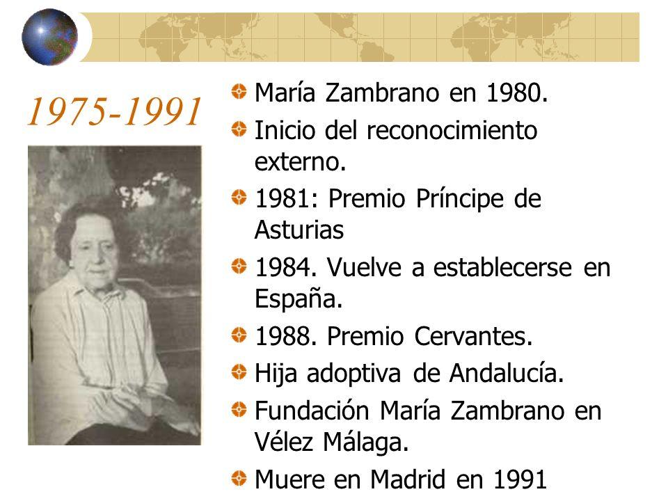 1975-1991 María Zambrano en 1980.Inicio del reconocimiento externo.