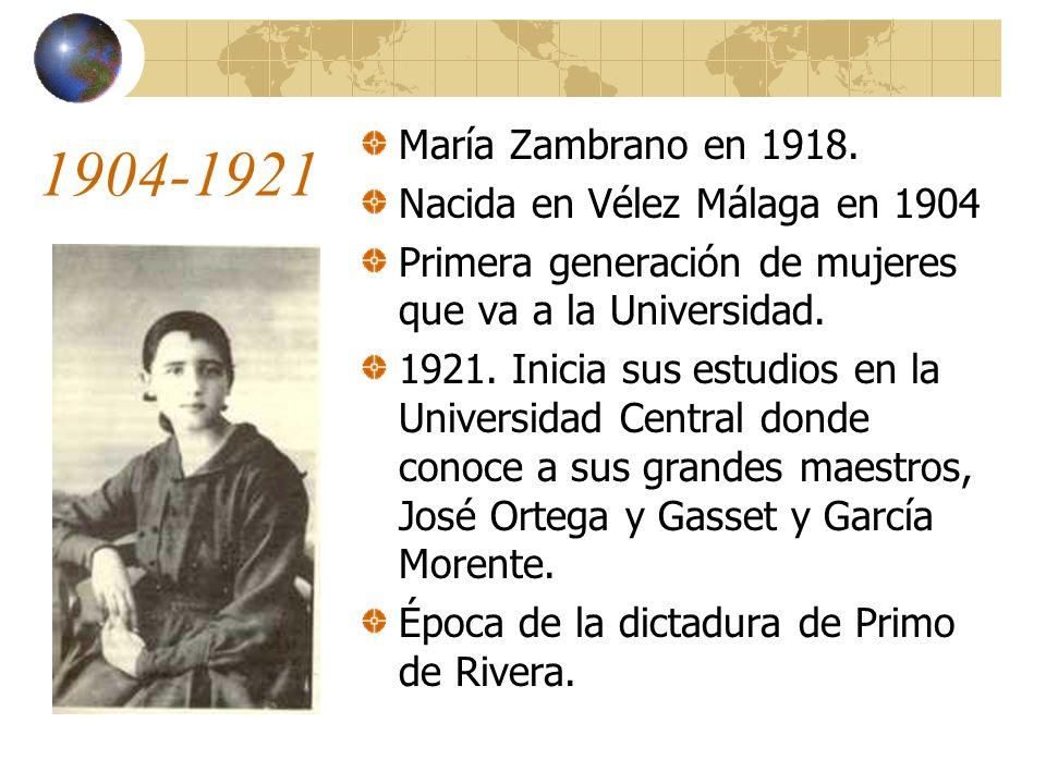 1904-1921 María Zambrano en 1918.