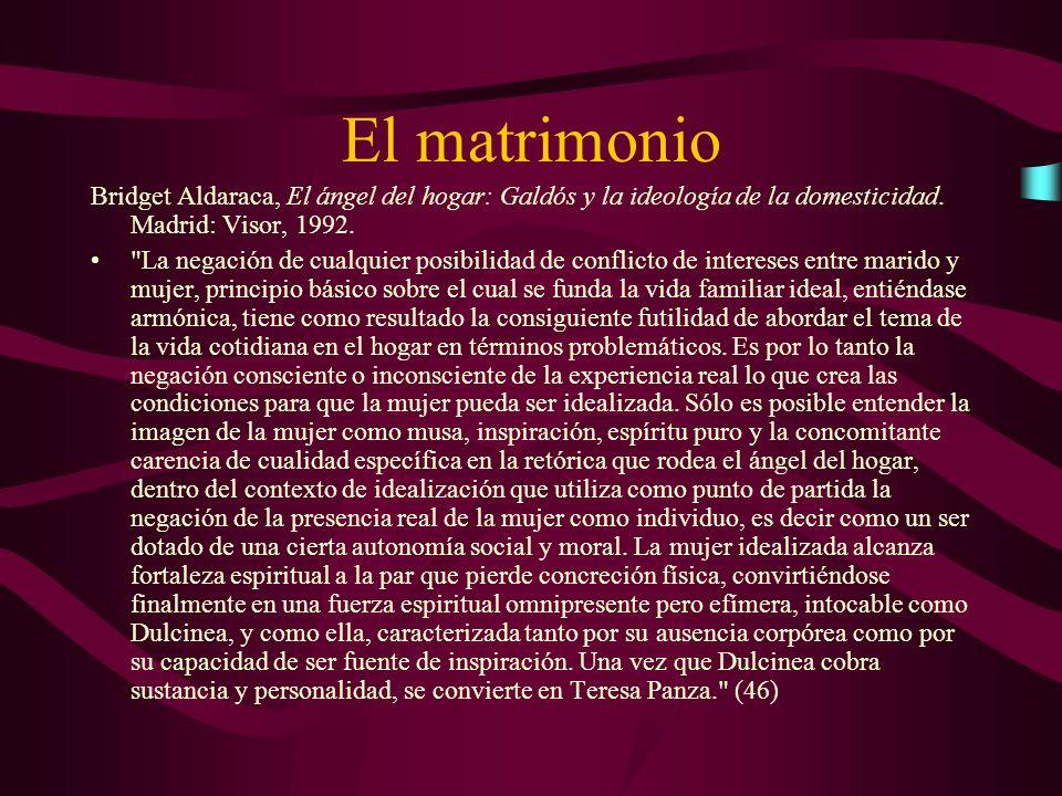 El matrimonio Bridget Aldaraca, El ángel del hogar: Galdós y la ideología de la domesticidad. Madrid: Visor, 1992.