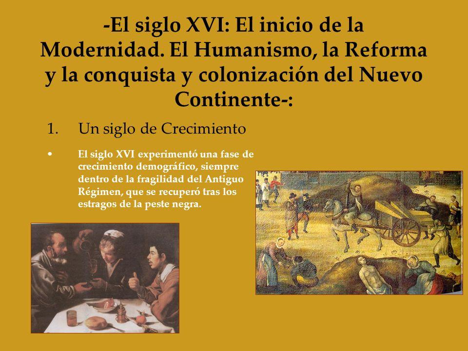 -El siglo XVI: El inicio de la Modernidad. El Humanismo, la Reforma y la conquista y colonización del Nuevo Continente-: 1.Un siglo de Crecimiento El