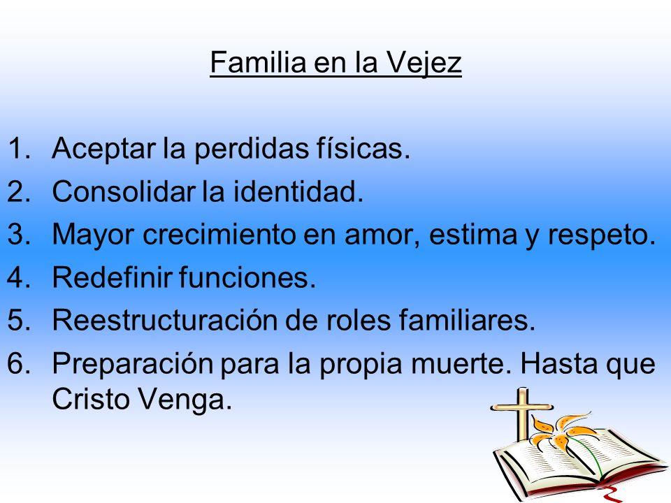 Familia en la Vejez 1.Aceptar la perdidas físicas. 2.Consolidar la identidad. 3.Mayor crecimiento en amor, estima y respeto. 4.Redefinir funciones. 5.