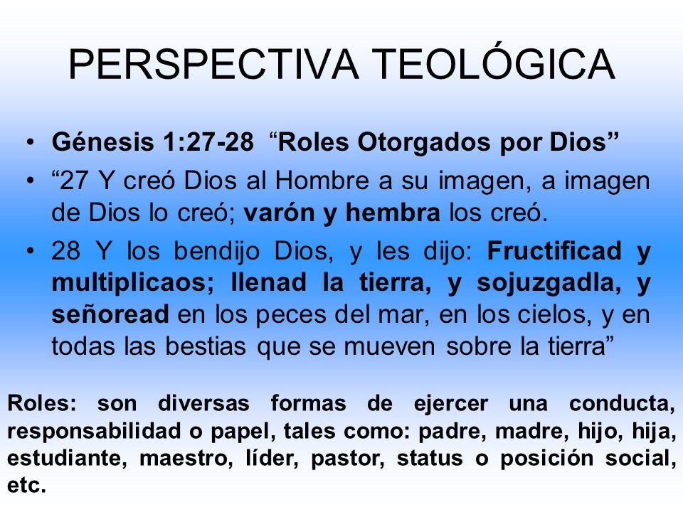 Génesis 1:27-28 Roles Otorgados por Dios 27 Y creó Dios al Hombre a su imagen, a imagen de Dios lo creó; varón y hembra los creó. 28 Y los bendijo Dio