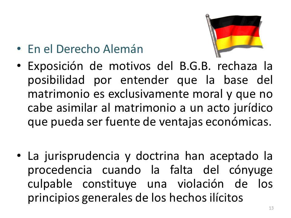 En el Derecho Alemán Exposición de motivos del B.G.B. rechaza la posibilidad por entender que la base del matrimonio es exclusivamente moral y que no
