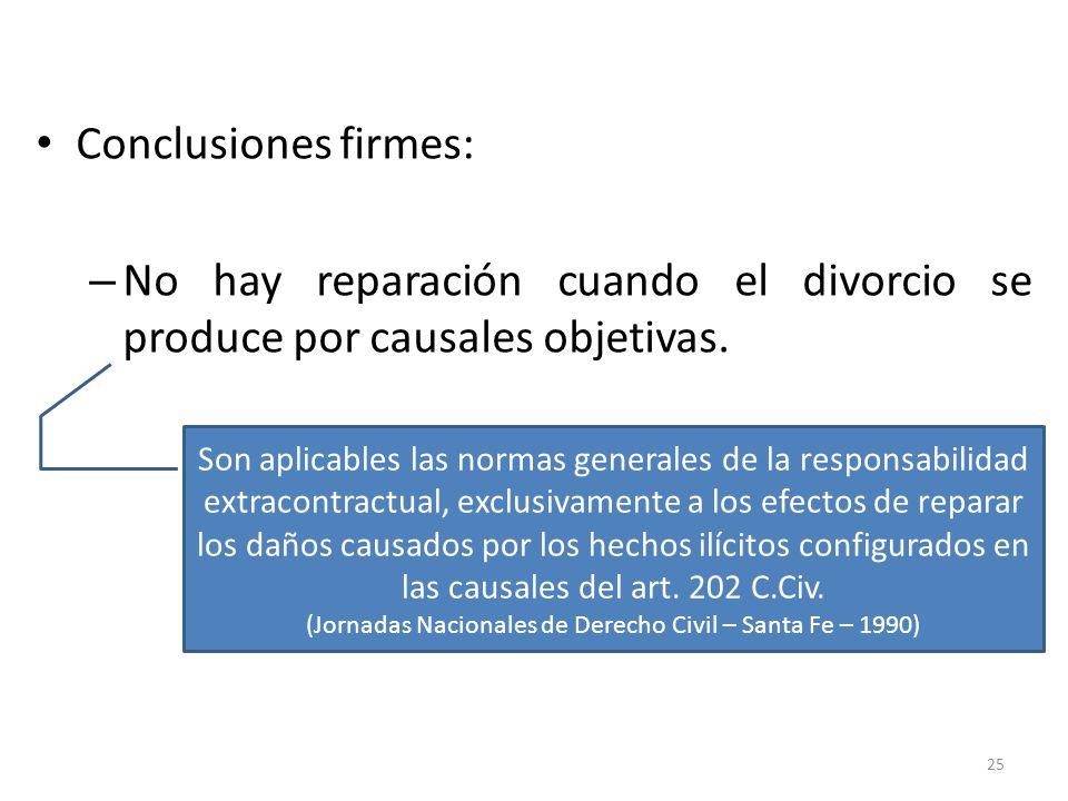 Conclusiones firmes: – No hay reparación cuando el divorcio se produce por causales objetivas. 25 Son aplicables las normas generales de la responsabi