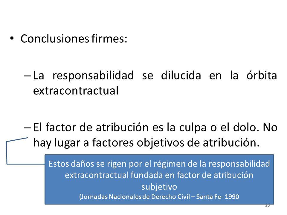 Conclusiones firmes: – La responsabilidad se dilucida en la órbita extracontractual – El factor de atribución es la culpa o el dolo. No hay lugar a fa